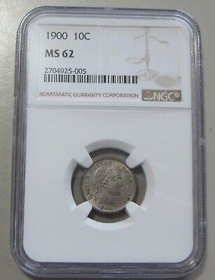 1900 Barber Dime Ngc Ms 62