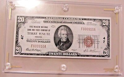 High Grade 1929 $20 Terre Haute Indiana National Charter 47 Bold In Holder