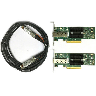 2p MNPA19-XTR 10GB Mellanox 10Gbe 3m SFP+ Cable Network Card Low baffle bracket