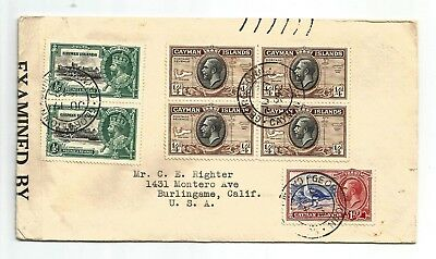 Cayman Islands Delightful and attractive 1942 censored cover with GV vals to USA