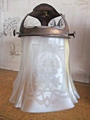 RARE ANTIQUE ETCHED GLASS GAS LAMP SHADE with MANTLE