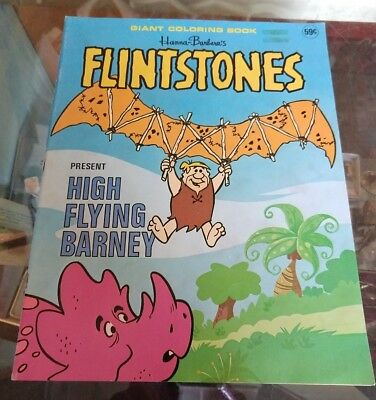 Vntg Flintstones Flying Barney Giant Coloring Book, Hannah Barbera, 1976 Unused!
