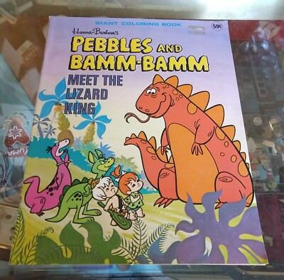 Vntg Flintstones Pebbles & Bam  Giant Coloring Book, Hannah Barbera, 1976 Unused