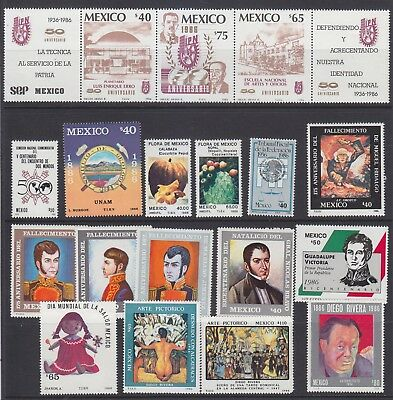 Mexico 1986 commemorative stamps complete year, Mint NH. VF cat $24.30