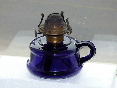 Antique deep purple kerosene finger OIL LAMP *FREE SHIPPING!