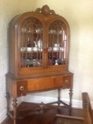 Antique Walnut and mixed Wood 9 piece Dining Room Set