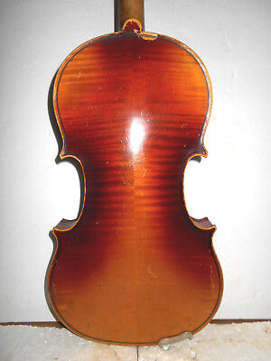"Old Vintage Antique Czech ""Stradivarius"" 2 Pc Back Full Size Violin - NR"