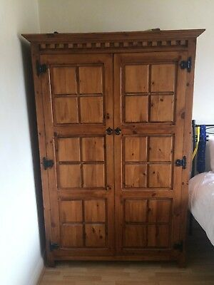 Rustic/antique-look pine wardrobe