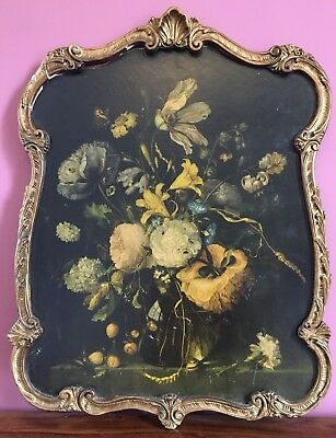 Large Vintage Ornate Atsonea Gilt Frame Flowerpiece By Jacob Walscappelle