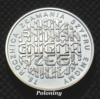 SILVER COMMEMORATIVE COIN POLAND - BREAKING ENIGMA CODES WORLD WAR II (MINT) Ag