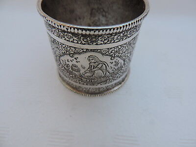 FREE SHIPPING ANTIQUE PERSIAN QAJAR ISLAMIC SOLID SILVER NAPKIN RING 40gr 1.4 oz