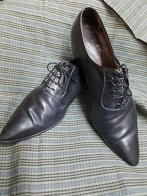 Mens 8.5  VTG 60s 70s BLACK POINT Pointed TOE Rockabilly Hipster Leather Shoes