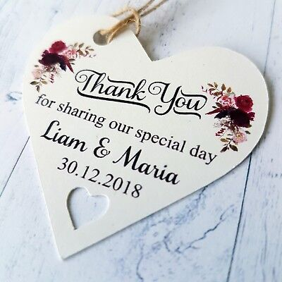 Personalised Wedding Favour Heart Tags Thank You For Sharing Our Special Day