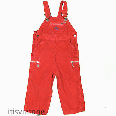 Izod Lacoste Vintage Red Corduroy Overalls Crocodile Infants Toddlers 18 Months