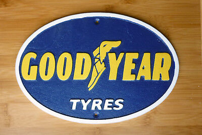 Goodyear Tyres Sign 33cm Retro Cast Iron Wall Plaque Garage Workshop