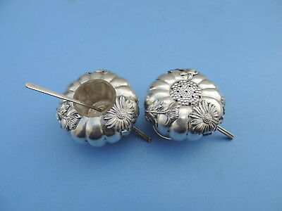 Exquisite Antique Japanese Sterling Silver Sunflower Salt Pepper Shakers Japan