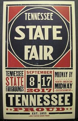 Tennessee State Fair Hatch Show Print Poster September 2017 Fairgrounds Midway