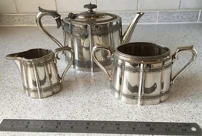 Engraved Victorian James Dixon & Son Silver Plated Tea Set - Very Downton Abbey