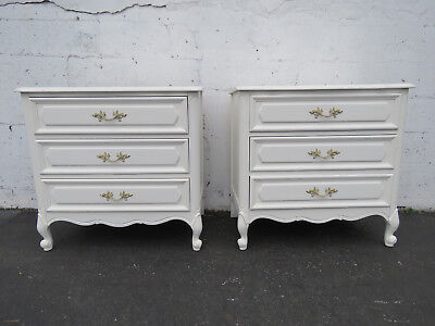 French Painted Pair of Small Dressers Large Nightstands 8886
