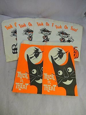 Vintage 6 Small Paper Bags Halloween Candy Trick Or Treat Black Cat Witch Unused