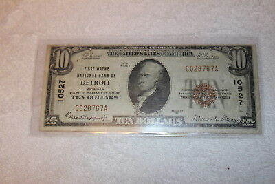 1929 $10 Dollar National Currency, National Bank of Detroit, Brown Seal, St#767A