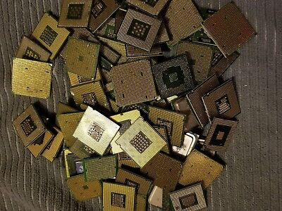 Lot of 2.3Lbs 80 total Intel Pentium CPUs for Scrap Gold Recovery