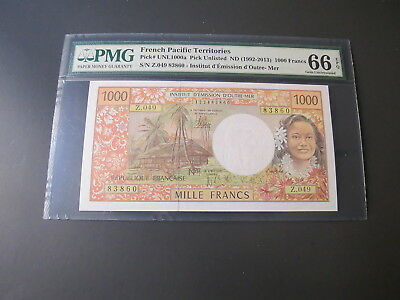 French Pacific Territories 1000 Francs 1992 Pmg 66Epq Gem Unc Rare