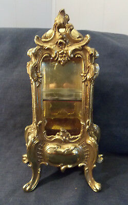"Rare Unique Vintage Ornate Gold Tiny Metal Curio/display Cabinet! 8 1/2"" Tall"