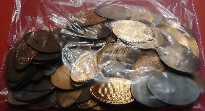 Lot 100 elongated pressed smashed squished pennies coins