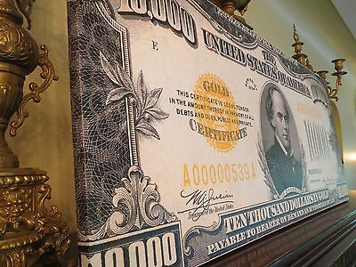 Huge Canvas Piece! - Us 1934 $10000 Gold Certificate Note - Treasury Artwork