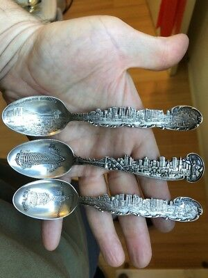3 Great! Vintage Souvenir Spoons Sterling Silver Of New York City