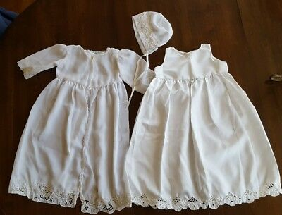 Vintage Set Baby Infant LACE DRESS JACKET Baptism Gown White satin chiffon Hat