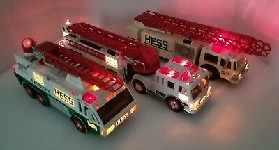 Lot of 3 HESS GAS Toy Ladder Fire Rescue Trucks 1989/1996/2000 W/Lights & Sounds