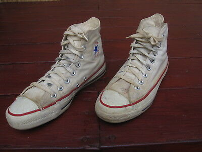 Vtg 1970s Mens Converse Blue Label Sz 7 All Star Chuck Taylor Hi White USA