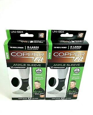 d0ba863267 Copper Fit Original Recovery Ankle Sleeve Black with Copper X-Large Lot of 2