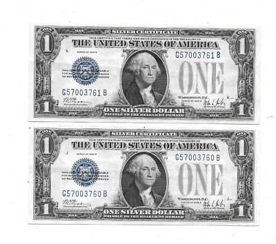 Lot 1 Of 2 Consecutive 1928-B $1 Funnyback Silver Certificates