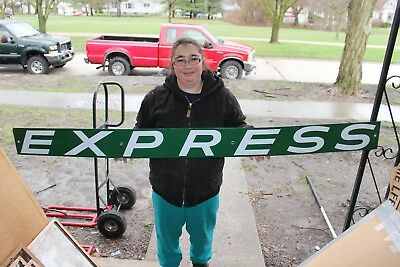 "Large Vintage 1950s Express Railroad Truck Gas Oil 70"" Metal Porcelain Sign~Nice"
