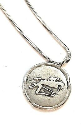 Jumping HORSE Pendant Charm Hunter Jumper Equestrian Sterling Silver Necklace