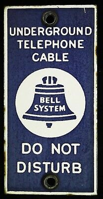 Bell System Telephone Vintage Porcelain SIGN 1960s Underground Telephone Cable