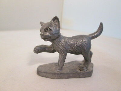 PEWTER CAT Figure Pawing Kitten Lovers collectible Animals Metal Decor Made USA