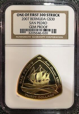 2007 Bermuda Triangular Gold $30 San Pedro Ngc Gem Proof; One Of 1St 300 Struck