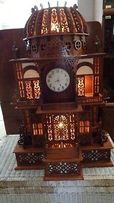 Huge Wood Carved Lighted Gothic Cathedral Mantel Clock, Local Pick Up Only MI