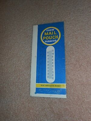 Old Tin Litho Nos Never Pressed Chew Mail Pouch Tobacco Thermometer Sign Blank