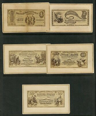 1866 Souvenir Cards United States Banknotes (15) Diff Xf+ Rarely Offered Hw3822