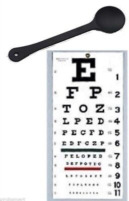 "OCCLUDER + Wall Snellen Eye Exam Vision Test Chart 22"" x 11"" Combination Set"