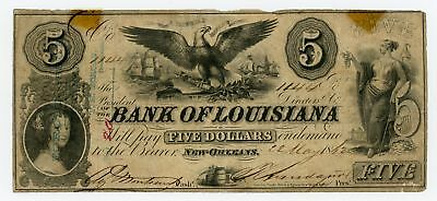 1862 $5 The Bank of LOUISIANA Note - CIVIL WAR Era NO RESERVE!