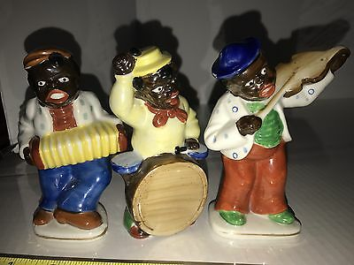 Three Black Americanna Band Figurines Made In Occupied Japan All Mint