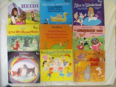Vintage Lot of 9 Walt Disney's  LP's ALL ABOUT DRAGONS Lady & Tramp ALICE 1960'S