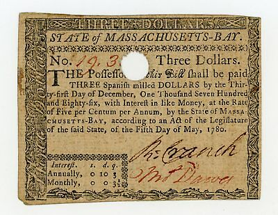 (MA-280) May 5th, 1780 $3 MASSACHUSETTS Colonial Currency Note