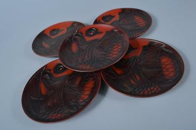 F2573: Japanese Wooden Lacquer ware Fish sculpture SERVING PLATE/dish 5pcs